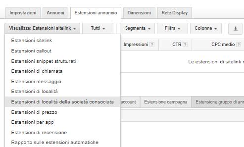 adwords estensioni sitelink
